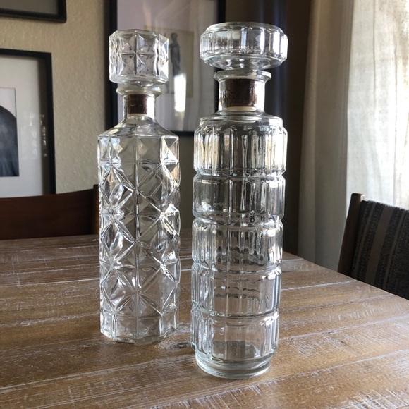 Vintage Cut Glass Decanters Set of 2
